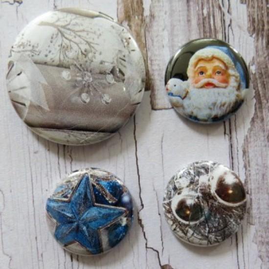 Badge images-Noël bleu et argent