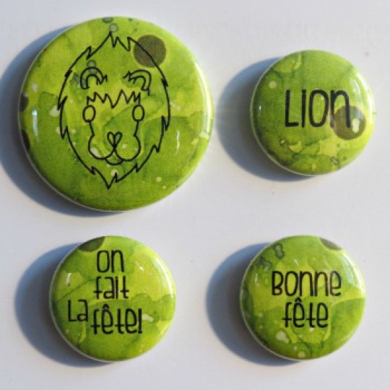 Badge horoscope- Lion vert-lime