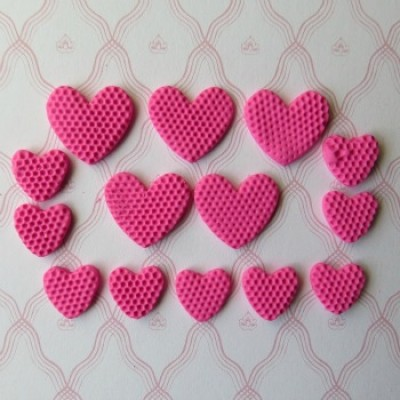 Coeur fimo rose gomme