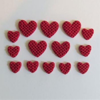 Collection rouge & blanc - fimo coeur rouge tricot